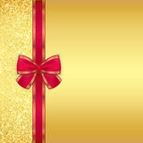 Luxury golden background with glitters and red rib Stock Images