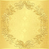 Luxury golden background with vintage floral patte Stock Photo