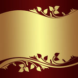 Luxury golden Background witth floral Borders Stock Image