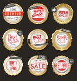 Luxury golden badges and labels collection. Luxury golden badges and labels set vector illustration