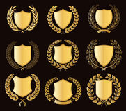 Luxury Golden Badges Laurel Wreath Collection. Vector illustration eps-10 Stock Photo