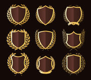 Luxury Golden Badges Laurel Wreath Collection. Vector illustration eps-10 Royalty Free Stock Photos