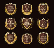 Luxury Golden Badges Laurel Wreath Collection. Vector illustration eps-10 Royalty Free Stock Image