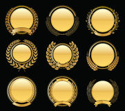 Luxury Golden Badges Laurel Wreath Collection. Vector illustration eps-10 Stock Images