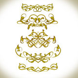 Luxury Golden Calligraphic Elements. Menu, card, book. Royalty Free Stock Image