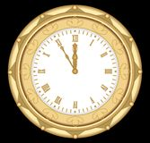 Luxury golden clock in art deco style,  object on black background Stock Image