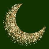 Luxury golden crescent, half moon gold glittering background. Luxury golden crescent, half moon gold glittering confetti particles background. Scattered golden stock illustration