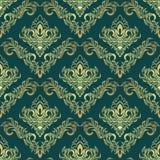 Luxury golden damask Pattern on dark green Stock Photos