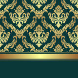 Luxury golden damask Pattern decorated the Border with golden Ribbon. Stock Photos