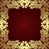 Luxury golden floral Frame on dark red. Royalty Free Stock Photo
