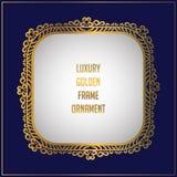Luxury golden floral ornament frame design. Frame background design with gold floral ornament. Vector design element royalty free illustration