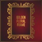 Luxury golden floral ornament frame design. Frame background design with luxury ornament. Vector design element royalty free illustration