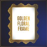 Luxury golden floral ornament frame design. Gold frame background design with luxury floral ornament. Applied in invitation. Designs, cards and decorative royalty free illustration