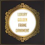 Luxury golden floral ornament frame design. Gold frame background design with luxury floral ornament. Vector design element royalty free illustration