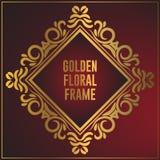 Luxury golden floral ornament frame design. Gold frame background with luxury floral ornament. Vector design element stock illustration