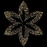 Luxury golden flower on black, gold glittering background. Luxury golden flower on black, gold glittering confetti particles on dark background. Scattered golden royalty free illustration