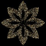 Luxury golden lotus flower on black, gold glittering background. Luxury golden flower on black, gold glittering confetti particles on dark background. Scattered royalty free illustration
