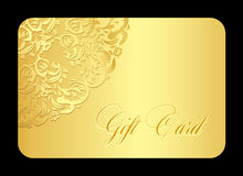 Luxury golden gift card with rounded lace Stock Photo