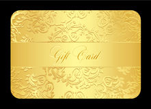 Luxury golden gift card with rounded lace Stock Image