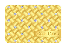 Luxury golden gift card with small diamonds. Exclusive golden gift card with small diamonds Stock Photo