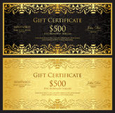 Luxury golden gift certificate in vintage style Royalty Free Stock Photo