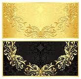 Luxury golden gift certificate in vintage style Stock Image