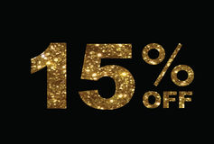 Luxury golden glitter fifteen percent off special discount word Stock Photos