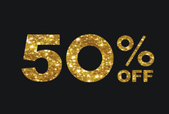 Luxury golden glitter fifty percent discount word text. The vector luxury golden glitter fifty percent discount word text on black background Royalty Free Stock Photography