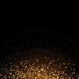 Luxury golden glitter round confetti on black vector background. Shining gold shimmer square design card. Glowing snow for Christmas Royalty Free Stock Photos
