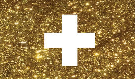 Luxury golden glitter Swiss Switzerland country flag icon Royalty Free Stock Photo