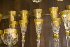 Luxury golden goblets Royalty Free Stock Image