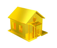 Luxury golden house isolated. A brand new golden house. Metaphor for expensive mortgage, asset and costly dream home Royalty Free Stock Photo