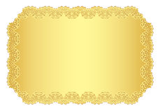 Luxury golden invitation with lace border Royalty Free Stock Image