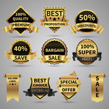 Luxury golden labels and elegant gold emblems vector collection Stock Image