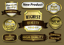 Luxury golden labels. Framed and labels Stock Photos