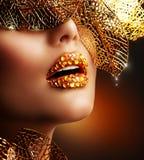 Luxury Golden Makeup stock images