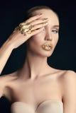 Luxury Golden Makeup.girl Royalty Free Stock Image