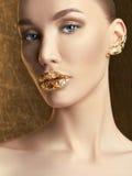 Luxury Golden Makeup.girl Royalty Free Stock Photos