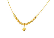 luxury golden necklace with pendant in heart shape Royalty Free Stock Images