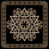Luxury golden ornament with David star motif in filigree gold frame on black background. Jewish religious hexagram symbol named in Stock Image