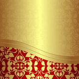 Luxury golden ornamental Background with red Borde Royalty Free Stock Image