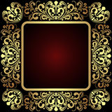 Luxury golden ornamental Frame on dark red. Stock Photos