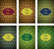 Luxury Golden Pattern Cards Set vector illustration