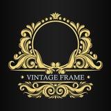 Luxury golden pattern. Decorative vintage vector frame. Leafy ornament. Border for monogram. Indian, Turkish, Islamic ornament royalty free illustration
