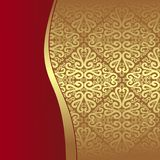 Luxury golden Pattern with red Border Stock Image