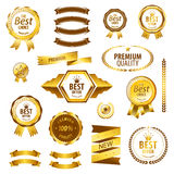 Luxury golden premium quality best choice labels. Luxury premium quality best choice labels isolated vector illustration Royalty Free Stock Images