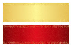 Luxury golden and red gift certificate with swirl Royalty Free Stock Image