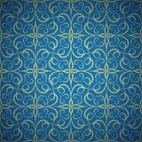 Luxury Golden Seamless Pattern on Blue Background Stock Photos