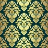 Luxury golden seamless Wallpaper on green. Royalty Free Stock Image