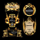 Luxury golden set of bakery label designes Stock Photos